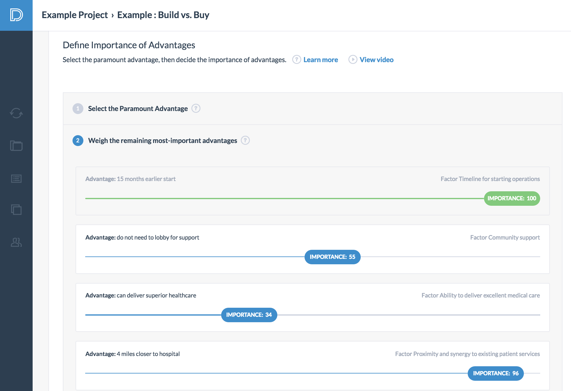paramount decisions buy or build use case step 7 define cost