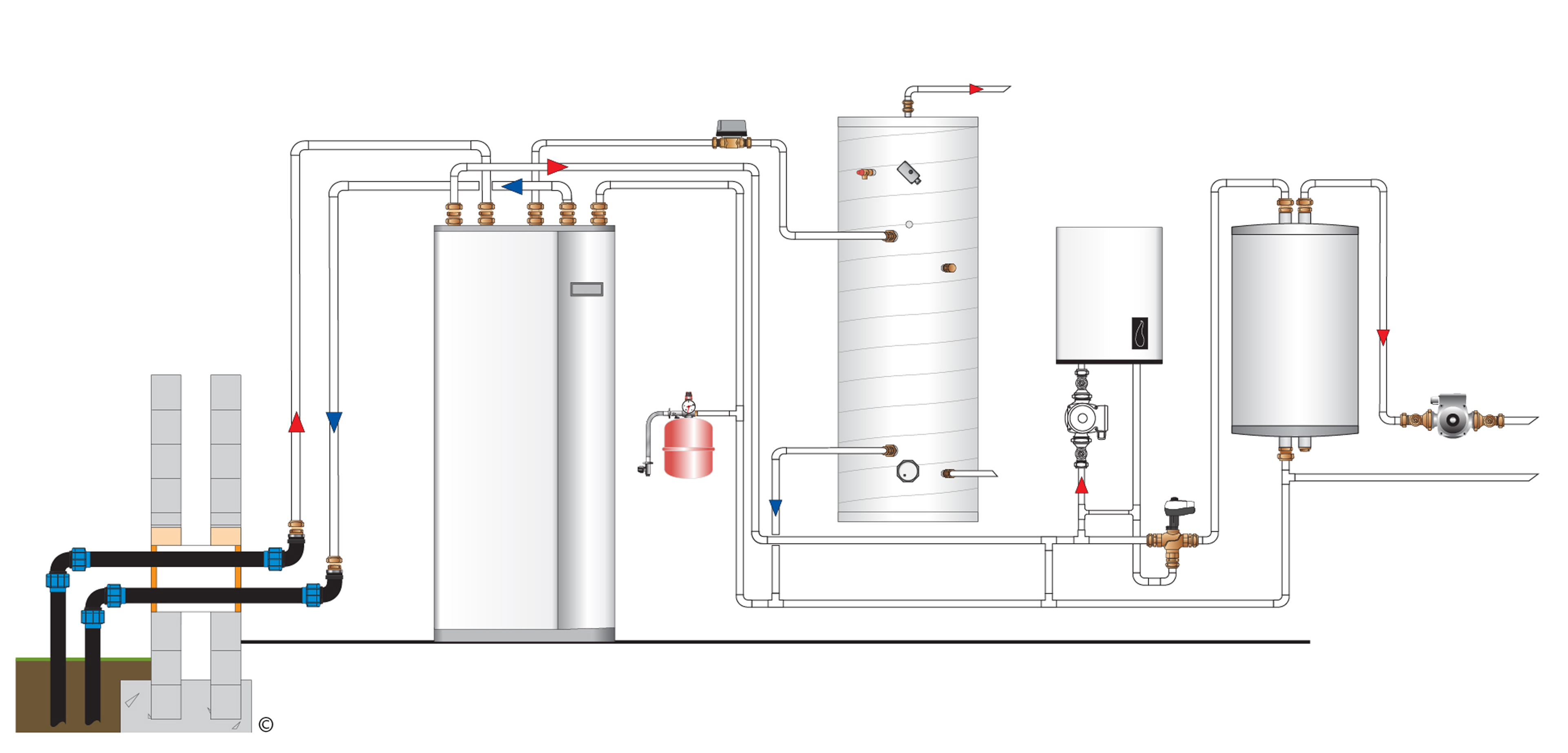 water source heat pump system diagram